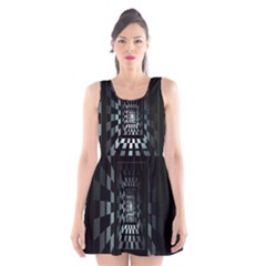 Optical Illusion Square Abstract Geometry Scoop Neck Skater Dress