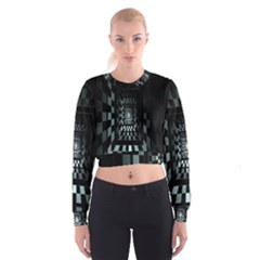 Optical Illusion Square Abstract Geometry Women s Cropped Sweatshirt