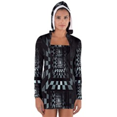 Optical Illusion Square Abstract Geometry Women s Long Sleeve Hooded T-shirt