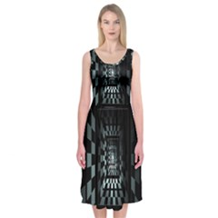 Optical Illusion Square Abstract Geometry Midi Sleeveless Dress