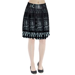 Optical Illusion Square Abstract Geometry Pleated Skirt