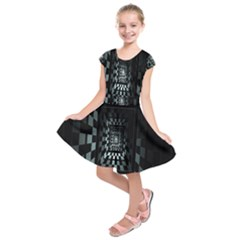 Optical Illusion Square Abstract Geometry Kids  Short Sleeve Dress