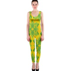 Floral Flower Star Sunflower Green Yellow Onepiece Catsuit