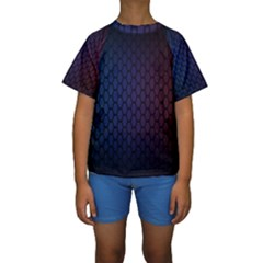 Hexagon Colorful Pattern Gradient Honeycombs Kids  Short Sleeve Swimwear