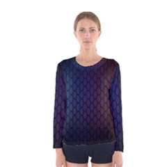 Hexagon Colorful Pattern Gradient Honeycombs Women s Long Sleeve Tee