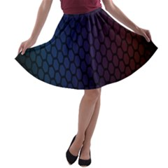 Hexagon Colorful Pattern Gradient Honeycombs A Line Skater Skirt