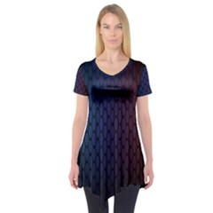 Hexagon Colorful Pattern Gradient Honeycombs Short Sleeve Tunic