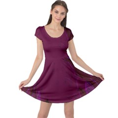 Abstract Purple Pattern Cap Sleeve Dresses