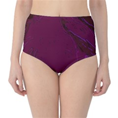 Abstract Purple Pattern High Waist Bikini Bottoms