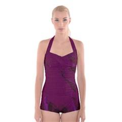 Abstract Purple Pattern Boyleg Halter Swimsuit
