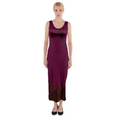 Abstract Purple Pattern Fitted Maxi Dress
