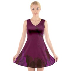 Abstract Purple Pattern V Neck Sleeveless Skater Dress