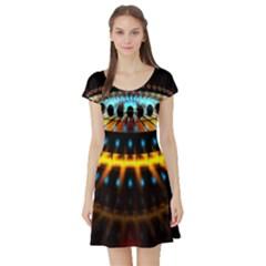 Abstract Led Lights Short Sleeve Skater Dress