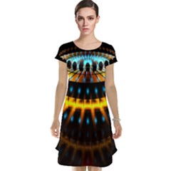 Abstract Led Lights Cap Sleeve Nightdress