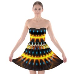 Abstract Led Lights Strapless Bra Top Dress