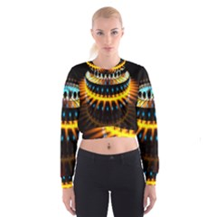 Abstract Led Lights Women s Cropped Sweatshirt