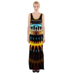 Abstract Led Lights Maxi Thigh Split Dress