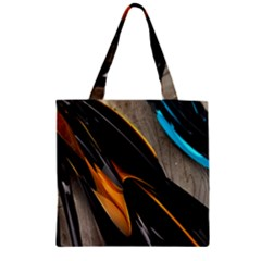 Abstract 3d Zipper Grocery Tote Bag