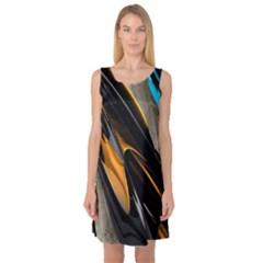 Abstract 3d Sleeveless Satin Nightdress