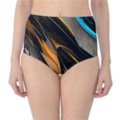 Abstract 3d High Waist Bikini Bottoms