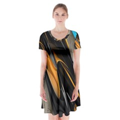 Abstract 3d Short Sleeve V Neck Flare Dress