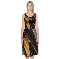 Abstract 3d Midi Sleeveless Dress