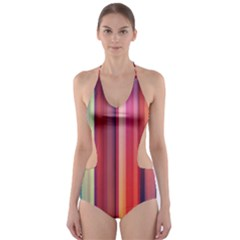 Texture Lines Vertical Lines Cut-Out One Piece Swimsuit