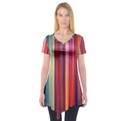 Texture Lines Vertical Lines Short Sleeve Tunic