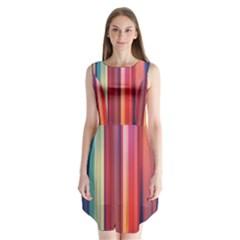 Texture Lines Vertical Lines Sleeveless Chiffon Dress
