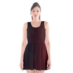 Abstract Dark Simple Red Scoop Neck Skater Dress