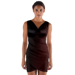 Abstract Dark Simple Red Wrap Front Bodycon Dress
