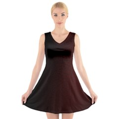 Abstract Dark Simple Red V-Neck Sleeveless Skater Dress