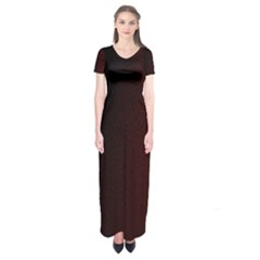 Abstract Dark Simple Red Short Sleeve Maxi Dress