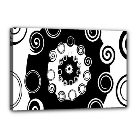 Fluctuation Hole Black White Circle Canvas 18  X 12