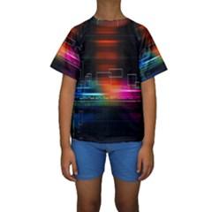 Abstract Binary Kids  Short Sleeve Swimwear