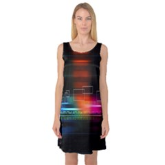 Abstract Binary Sleeveless Satin Nightdress