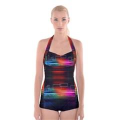 Abstract Binary Boyleg Halter Swimsuit