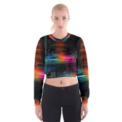Abstract Binary Women s Cropped Sweatshirt
