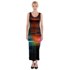 Abstract Binary Fitted Maxi Dress