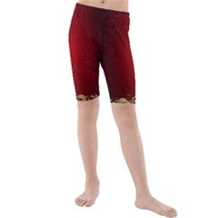 3d Red Abstract Pattern Kids  Mid Length Swim Shorts