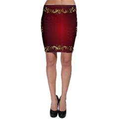 3d Red Abstract Pattern Bodycon Skirt