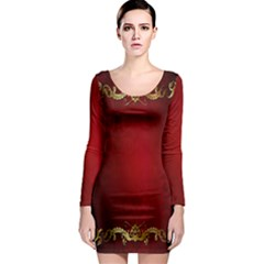 3d Red Abstract Pattern Long Sleeve Bodycon Dress