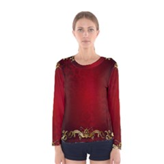 3d Red Abstract Pattern Women s Long Sleeve Tee