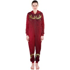 3d Red Abstract Pattern Hooded Jumpsuit (ladies)