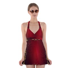 3d Red Abstract Pattern Halter Swimsuit Dress