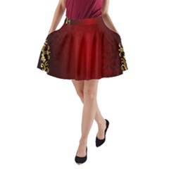 3d Red Abstract Pattern A-Line Pocket Skirt