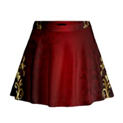 3d Red Abstract Pattern Mini Flare Skirt