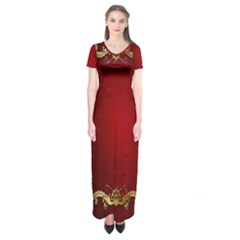 3d Red Abstract Pattern Short Sleeve Maxi Dress