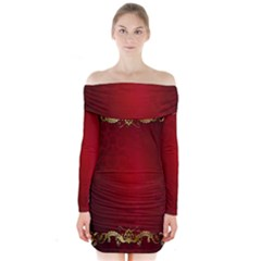 3d Red Abstract Pattern Long Sleeve Off Shoulder Dress