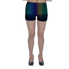Abstract Multicolor Rainbows Circles Skinny Shorts